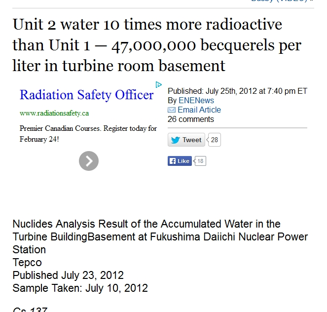 Unit 2 water 10 times more radioactive than Unit 1 — 47,000,000 becquerels per liter in turbine room basement.jpg
