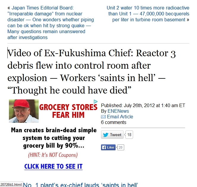"Video of Ex-Fukushima Chief Reactor 3 debris flew into control room after explosion — Workers 'saints in hell' — ""Thought he could have died"".jpg"
