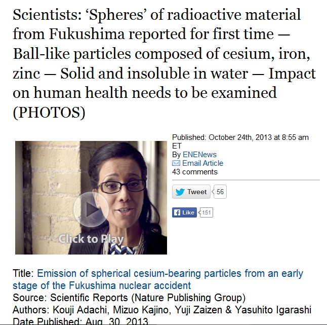 'Spheres' of radioactive material  Ball-like particles composed of cesium, iron, zinc.jpg