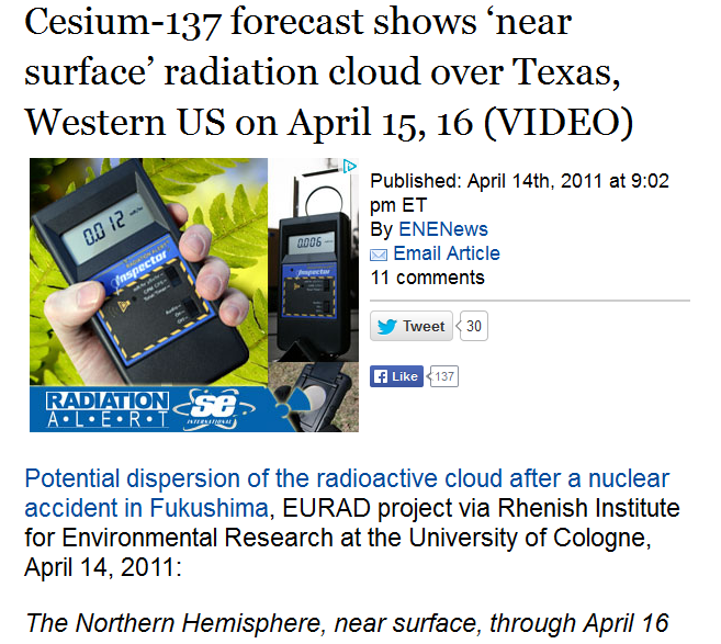4 Cesium-137 forecast shows 'near surface' radiation cloud over Texas, Western US on April 15, 16.PNG