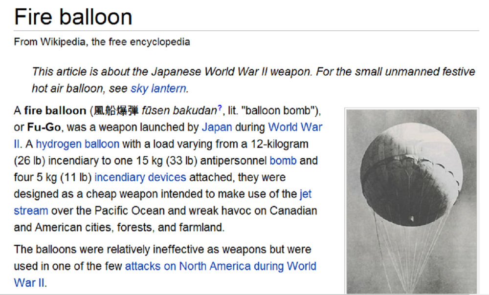 Japan released the first of these bomb-bearing balloons on November 2 Fire balloon.png