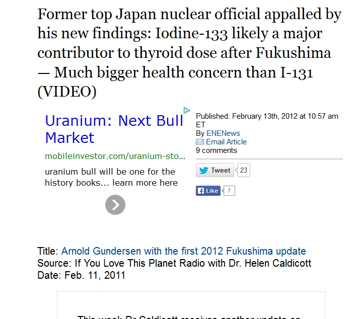 3 Iodine-133 likely a major contributor to thyroid dose after Fukushima — Much bigger health concern than I-131.jpg