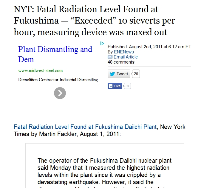 """NYT Fatal Radiation Level Found at Fukushima — """"Exceeded"""" 10 sieverts per hour, measuring device was maxed out.jpg"""