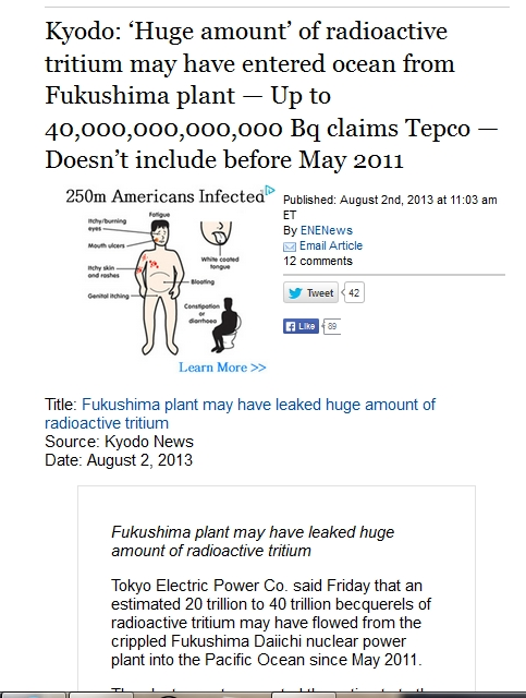 Kyodo 'Huge amount' of radioactive tritium may have entered ocean from Fukushima plant — Up to 40,000,000,000,000 Bq claims Tepco.jpg