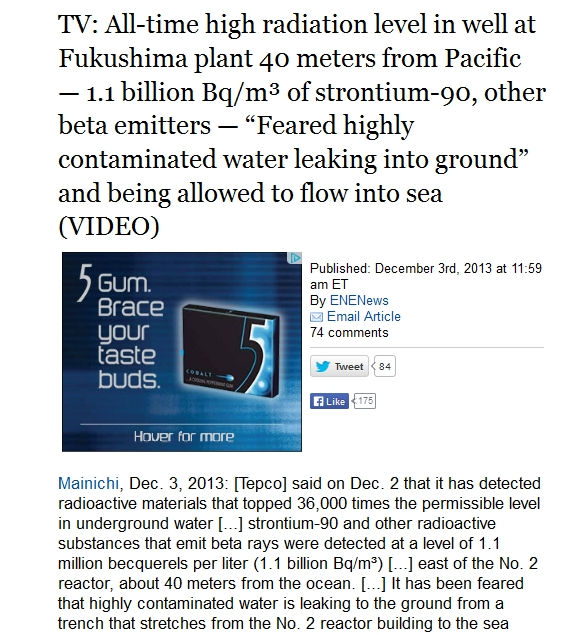 TV All-time high radiation level in well at Fukushima plant 40 meters from Pacific — 1.1 billion Bqm³ of strontium-90, other beta emitters.jpg