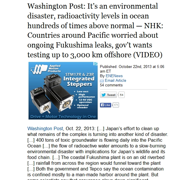 Washington Post It's an environmental disaster, radioactivity levels in ocean hundreds of times above normal.jpg