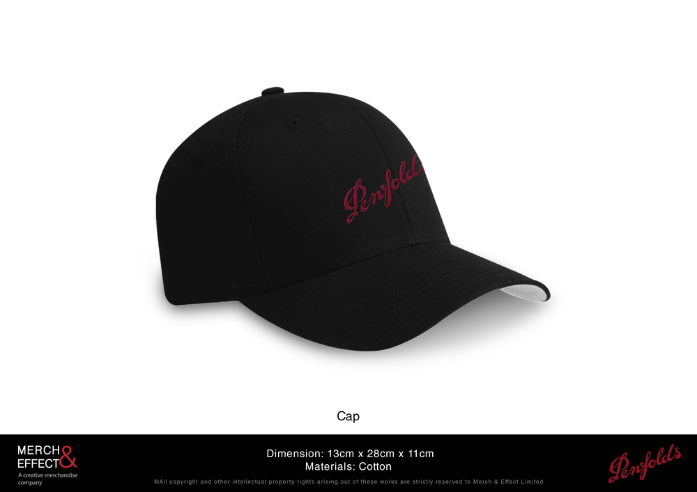 This Penfolds Cap comes in black with a white underside. The Penfolds logo is boldly embroidered in red across the front.