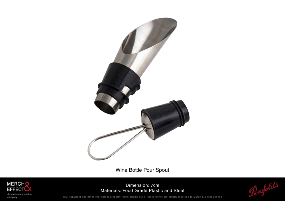 This chrome wine pourer can fit standard bottles and comes with a wine stopper that can be used even if you keep the wine pourer on. It is designed to pour wine smoothly and drip-free, lending an air of refinement which is a must for hosting and clean service.