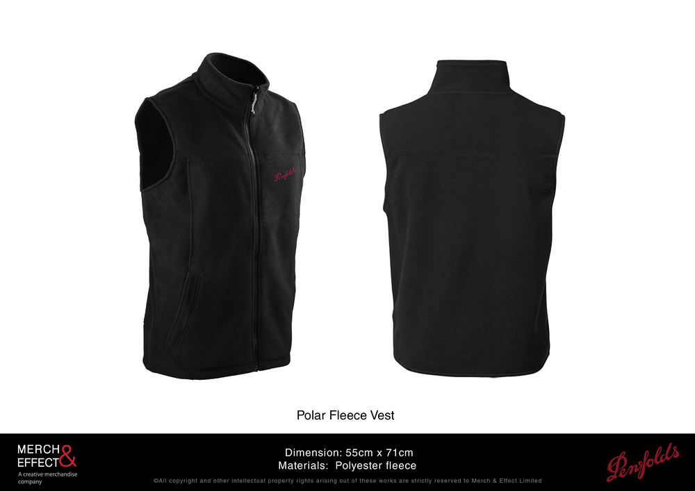 This zip-up polar fleece vest is made from top grade polyester fleece. It has two pockets at the sides to keep your hands warm and a soft-ribbed body to accentuate the wearer's form.  On the right chest, Penfolds' logo is embroidered in red.