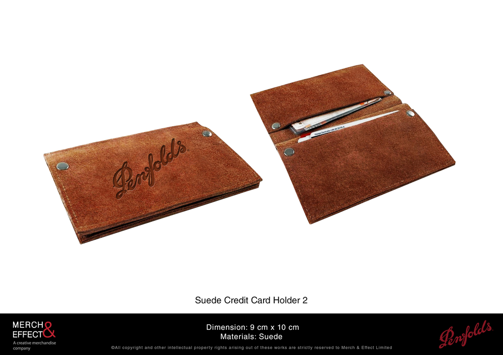The material we chose for this credit card holder makes up for its simple yet functional design.  We made this out of premium brown suede with the Penfolds logo debossed at the front, making this pocket-sized gift an item that will surely be used for years.