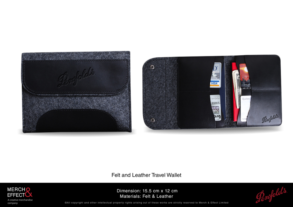 Keep all your important cards, notes, and passport together in one place with this felt and leathertravel wallet. The combination of felt and leather gives this wallet a casual but sophisticated vibe that is easy to match with your existing travel bags. The Penfolds logo is debossed on the front flap and inside it features several storage slots.