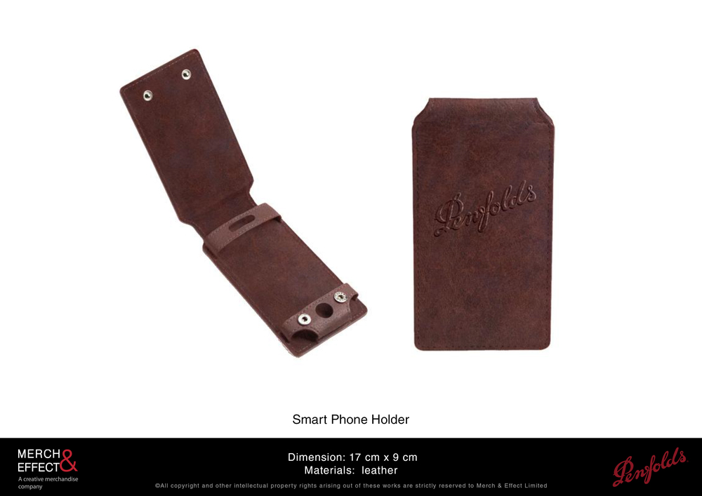 This fashionable leather smart phone holder makes for a gift that will surely extend the Penfolds brand's reach with its practicality and usability. Its sophisticated and simple design makes it a great unisex accessory that can protect your phone with its sturdy leather material.