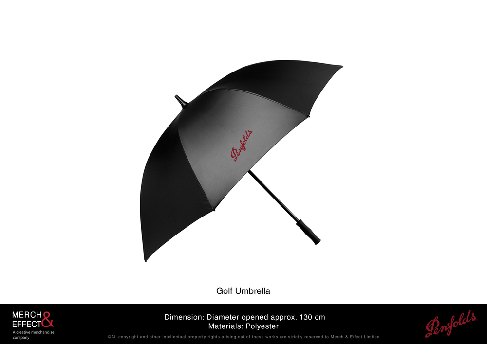 This long golf umbrella has alternating panels of silver and black with one panel printed with the Penfolds logo. This durable umbrella is made from polyester.
