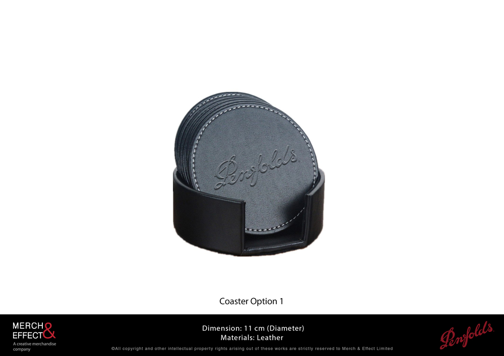 Leather coasters make drink presentations instantly more stylish and professional-looking. These classic round coasters we made for Penfolds is debossed with their logo and comes in a matching leather holder.