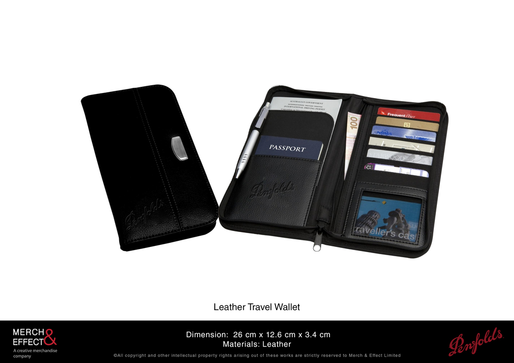 This large travel wallet looks like it came from a luxury leather goods brand with its design and premium leather material.  We designed it with a simple and sleek exterior adorned with a metal plate with Penfolds' logo. Its interior also features their embossed logo, two main compartments, and several slots. This can hold everything you might need when you travel: cards. notes, money, passport, and even a pen, making this item a quintessential travel companion.