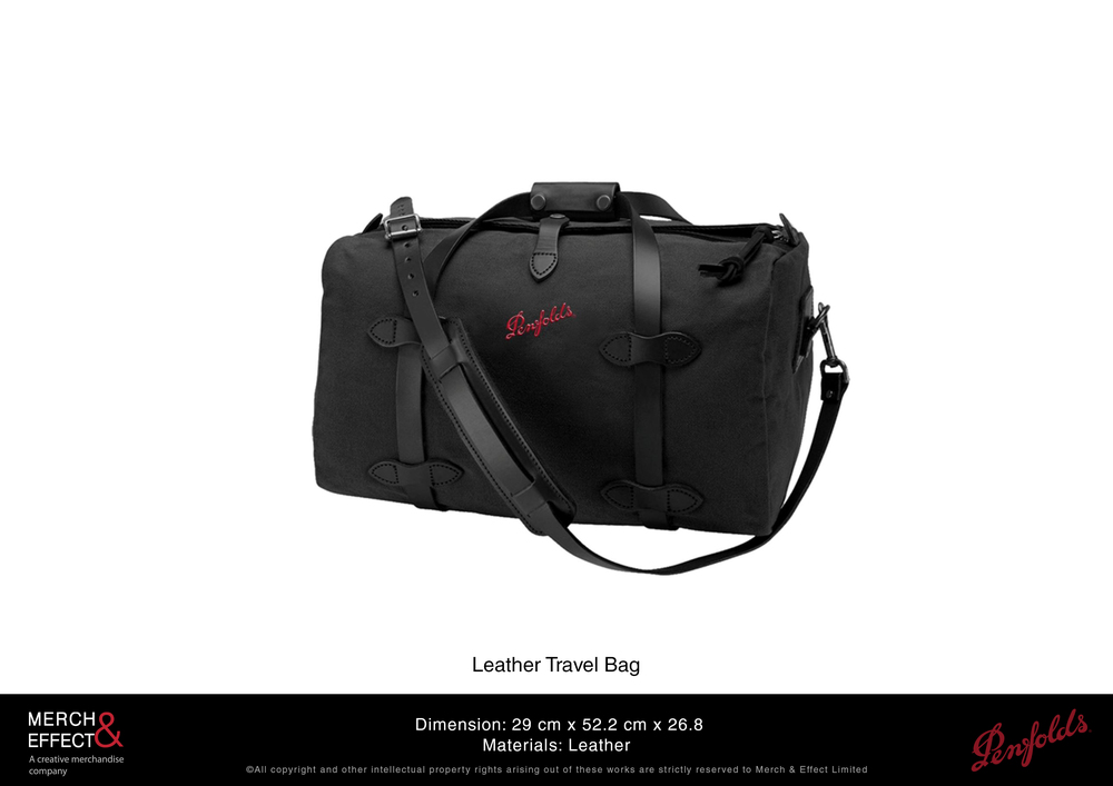 Durability combined with aesthetic appeal makes this leather travel bag stand out even if we only stuck to the brand's signature color of red and black. The Penfolds' logo is embroidered in red against the black body of the bag. The premium leather straps and adornments give this bag a chic neo vintage look and is built to last for a long time.