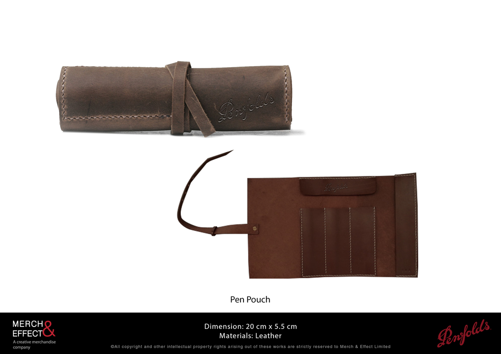 This vintage-style pen pouch is made out of premium brown leather with the Penfolds logo debossed at the side. It rolls out to reveal pen slots and the interior is decorated with a leather patch detailed with the brand's logo. It is bound with a leather strip and finished with neat stitches, making it especially appealing for those who love rustic designs.