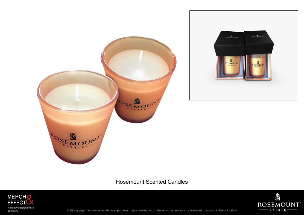 Bring elegance and class to your evenings with these Rosemount Scented Candles. Created for people who would like to enjoy more of Rosemount's brand than just its wines, these candles come in graceful gold glasses that will produce a cozy charm to any home.    Packaged in classy gold and black boxes, these Rosemount Scented Candles will please any wine connoisseur as much as the Australian winery's award-winning wines.