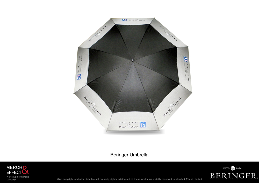 Made for Treasury Wine Estates' Beringer brand, this umbrella comes in classic black and silver colors and with a slim black holder.  It is the quintessential partner for winery tours offering wine tasting sessions and visits to the estate's cellars or vineyards, as it can shield anyone from the rains or from the extremely hot glare of the sun.  Just like this sample done for Beringer, this umbrella is not only a practical addition to your winery tour package, it will also lend a dash of charm to your visitor's entire look.