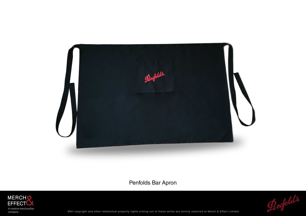 Simple and sleek, this Penfolds bar apron makes a perfect accessory to a bartender's uniform.  This slim line apron has an universal fit that can accommodate a wide range of body types. An accessible front pocket is digitally embroidered with the Penfolds logo, accentuated beautifully against a black backdrop.It makes the colors pop out, staying true to the brand's colors of red and black.