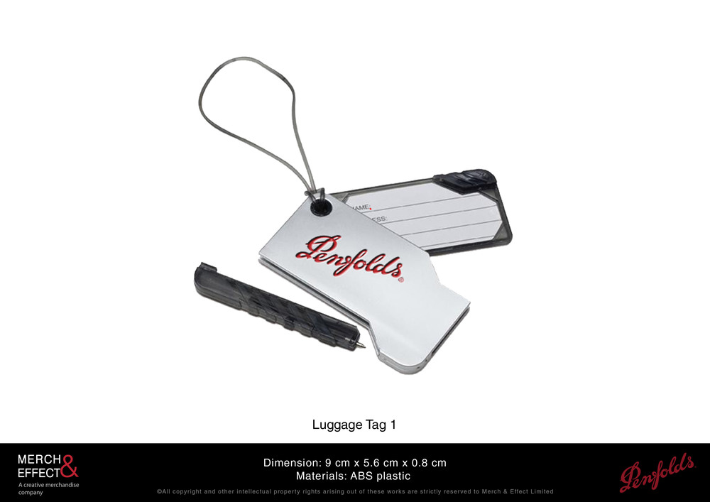 We designed this sturdy plastic luggage tag with the Penfolds logo embossed on its body in red. It features a retractable identification card case and it also has a small slide in pen that is convenient and accessible anytime you need to write something down.