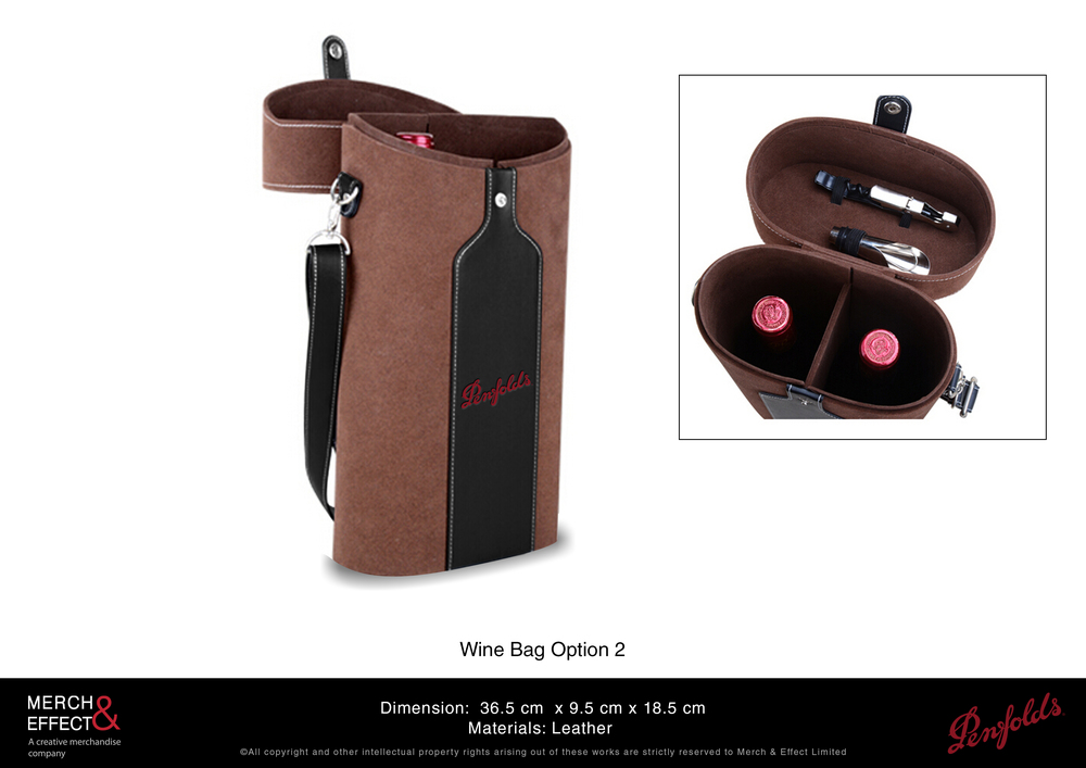 This partitioned leather wine bag can hold two bottles and features tool slots that can hold your wine opener and pourer. It is made out of premium leather, with a black leather silhouette of the Penfolds wine bottle hot stamped with their red logo at the front. It comes with a shoulder strap and the opening is secured with a silver snap button.