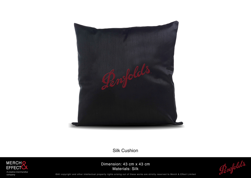 The black satin gives this cushion a subtle sheen that makes it look plush and luxurious.The Penfolds logo is embroidered in the middle in red, making it stand out against the black backdrop.