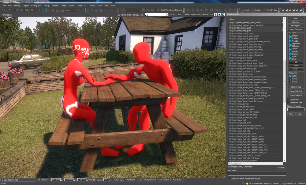In-engine character pose representations for a scene that was later moved