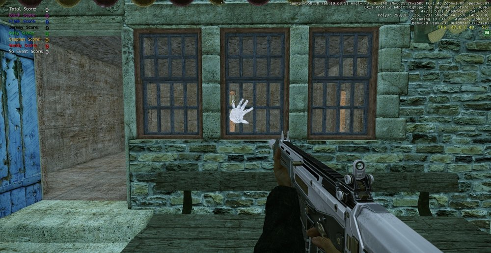 Another 'object' to interact with in order to trigger an event in this screenshot of the Rapture prototype phase (in 2012)