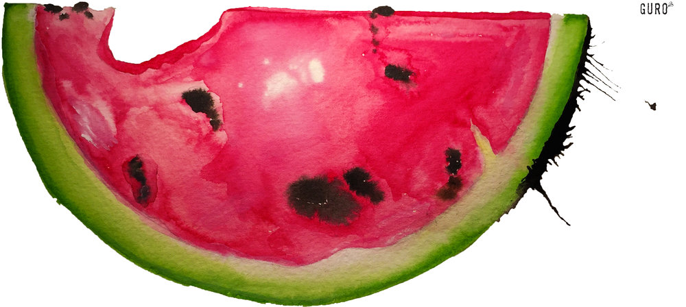 Like Watermelon - Watercolor on cold press paper 11x15