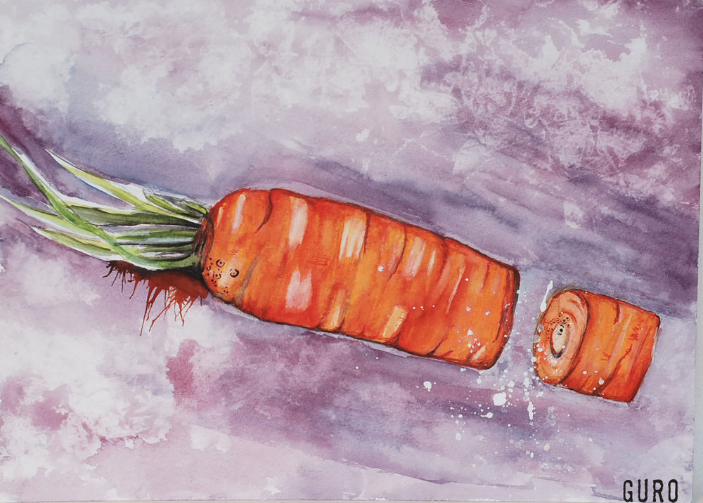 Carrot all - Watercolor on cold press paper 11x15