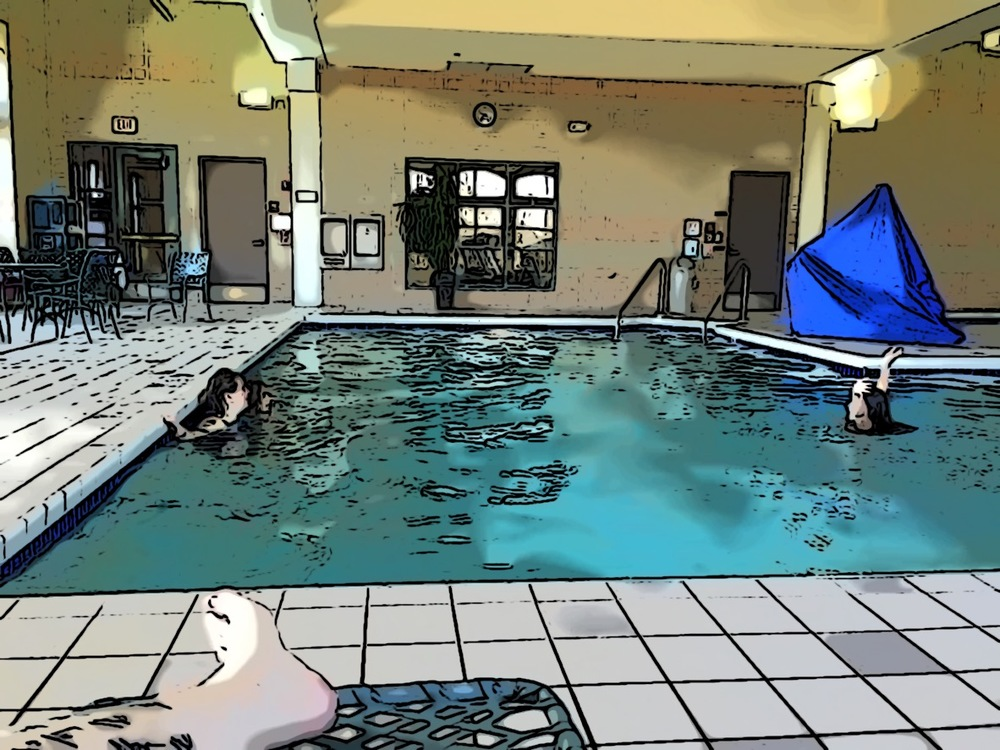 There's my cartoonified picture of Squee with 2 kiddos in the pool.  You can just make out my tattooed leg in the lower left hand corner there.  Lounge chair for the win!