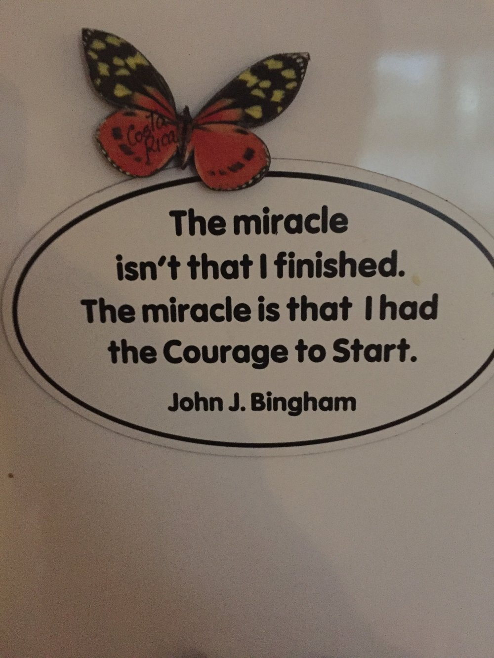 """The miracle isn't that I finished.  The miracle is that I had the Courage to Start.  -John J. Bingham."""
