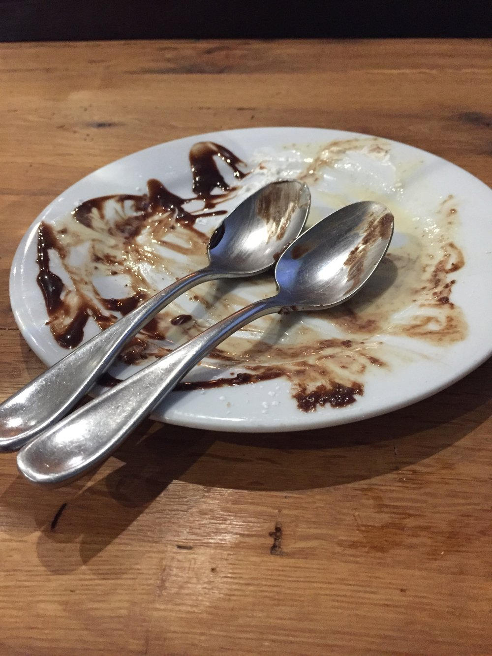 The sweet remains of our actual dessert.