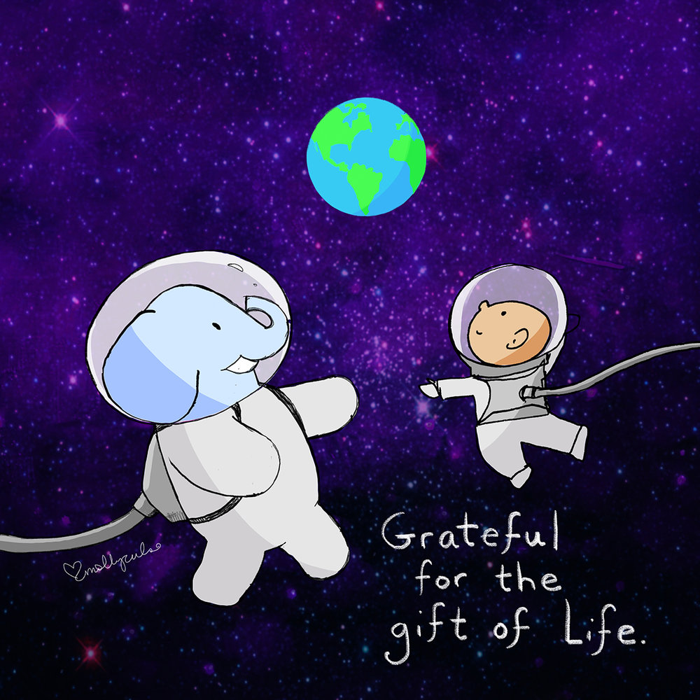 "The Buddha doodle monk and his elephant buddy, in spacesuits observing the earth. ""Grateful for the gift of life"""