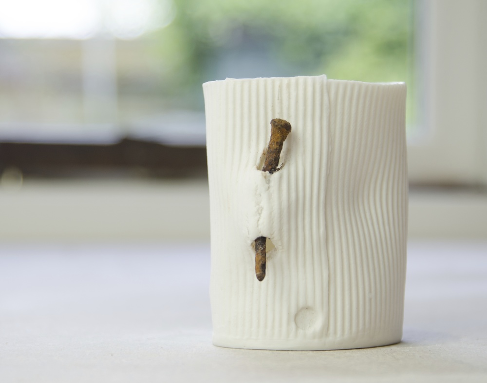 Nail Vessel: porcelain paper clay  Photo: Geoff Crawford