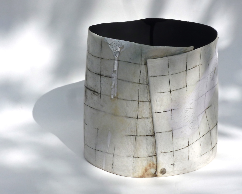 Stoneware vessel: mark making with hand brushed layers of glazes and oxides