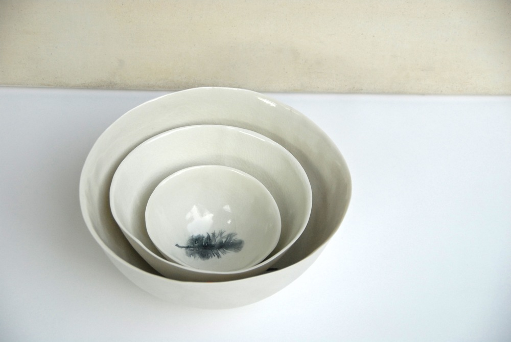 Stacking feather bowls: porcelain  Photo: Charlie Hawkins