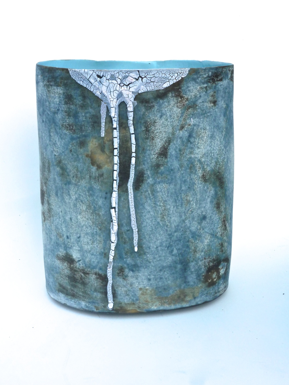Blue Favela Vessel  Stoneware with Tin Crackle Glaze