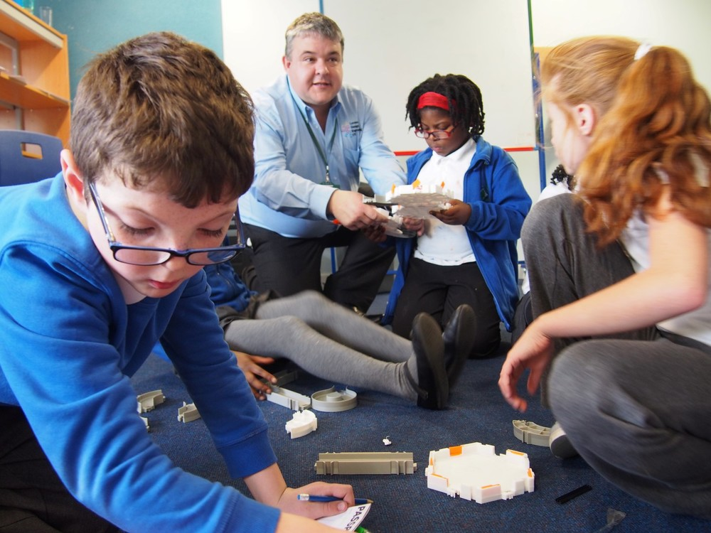 A Hexbot robotics activity staged by Geoff Fowler and his team from the London Design and Engineering UTC at Willow Bank Primary's Steam Co. Day.