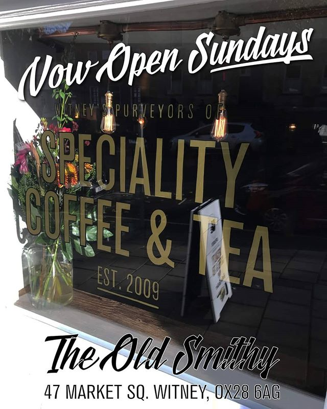 By popular demand we're delighted to be able to announce that we'll be extending our trading hours at The Old Smithy to now include Sundays from this weekend. Our trading hours for both our Witney town centre cafes & stores will now be Mon - Fri 9am to 4.30pm Sat 9am to 5pm Sun 10am to 3.30pm. #sundaytrading #witney #uecoffeeroasters #witneysbestcoffee #artisancoffee #coffee @uecoffeeartisancafes