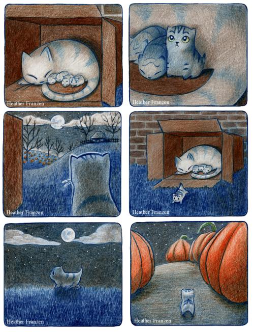 Foto originálních maleb komiksu Scaredy Cat, rozložené na stole