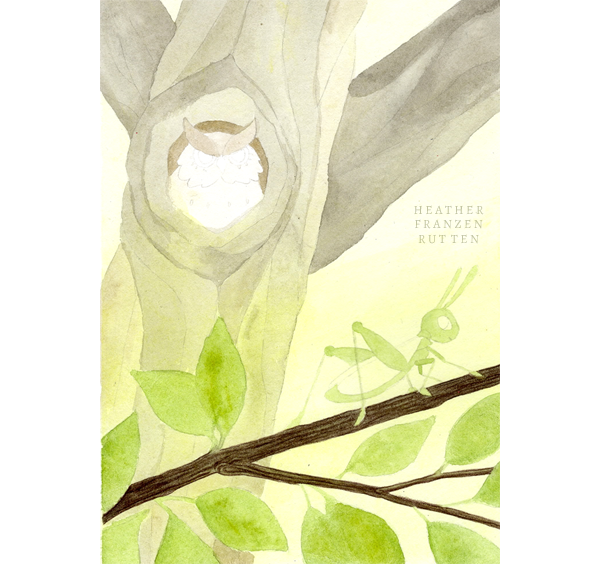 2) Watercolor Wash  Using a medium round brush, I block out shapes and hard edges. My watercolor washes are always light (it's easier to make things darker than lighter later!)  The branch is filled in with Nougat (#178) and lines are drawn to create texture with Walnut Brown (#280).