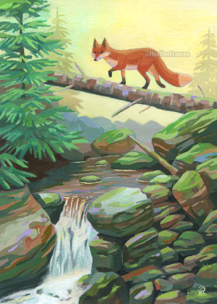 Fox Creek   Acryla Gouache, 5x7 inches