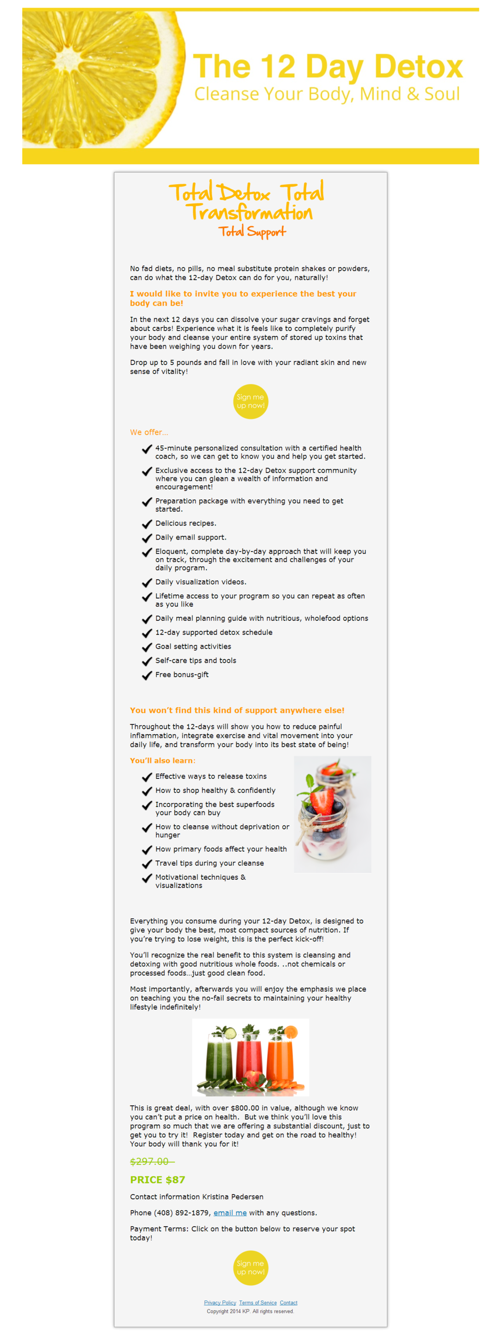 7 Day Detox - WordPress Squeeze Page