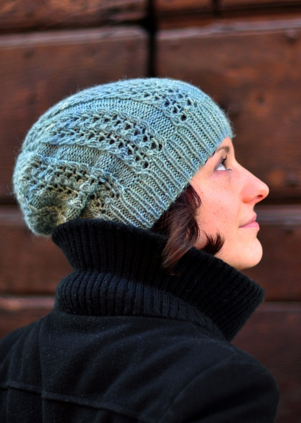 Castiel slouchy lace Hat knitting pattern heavy DK or worsted ...