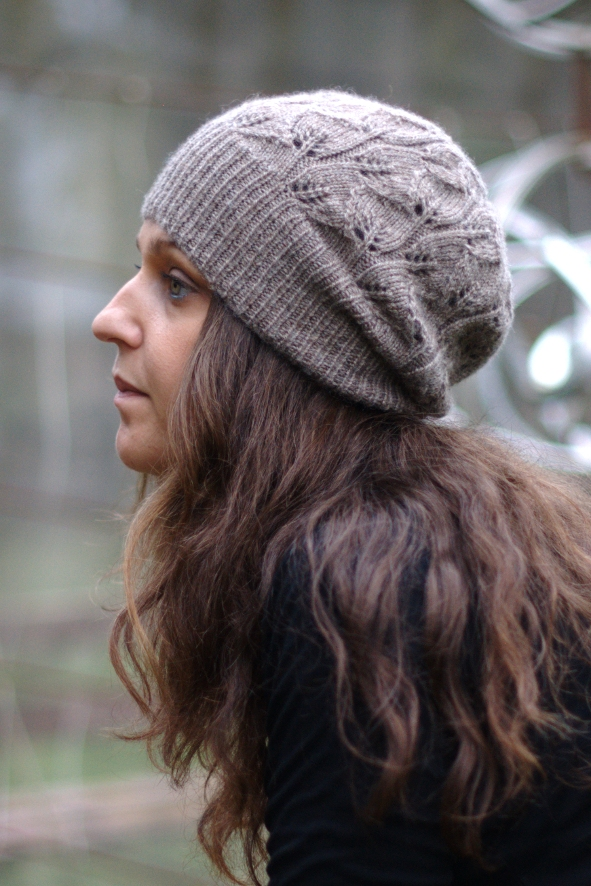Everglade slouchy lace Hat knitting pattern
