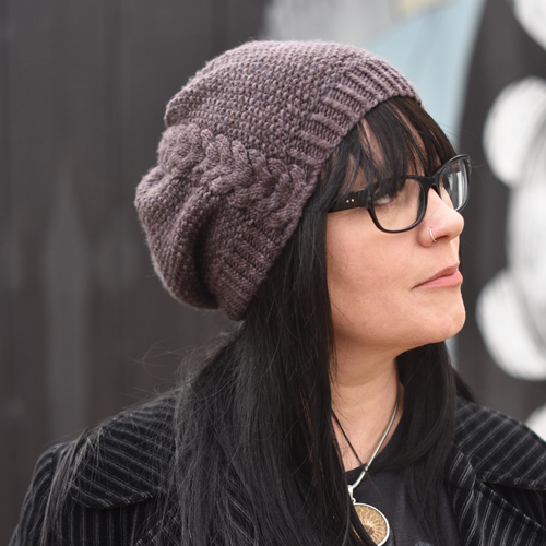 Kernmantle Slouchy Cable Hat Knitting Pattern Woolly Wormhead