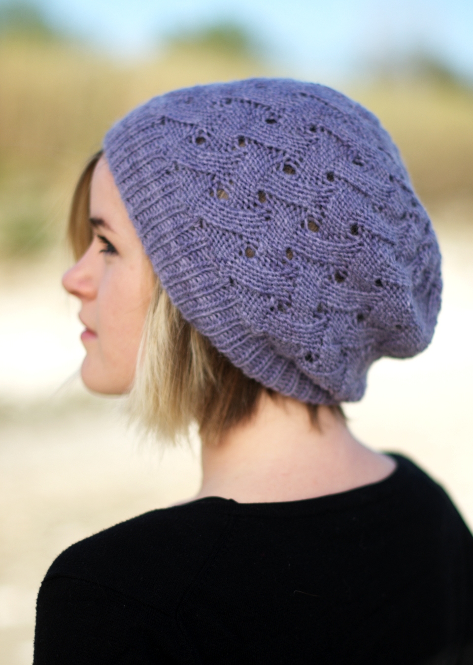 Knitting Pattern Beanie Hat Double Knitting : QL Slouch reversible slouchy lace Hat knitting pattern ...