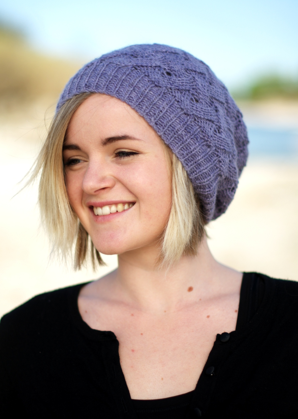 QL Slouch reversible slouchy lace Hat knitting pattern